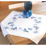 """32""""X32"""" - Blue Butterflies Tablecloth Stamped Embroidery Kit"""