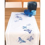 """16""""X40"""" - Blue Butterflies Table Runner Stamped Embroidery Kit"""