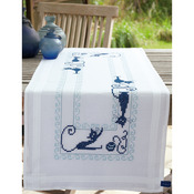 """16""""X40"""" - Cheerful Cats Table Runner Stamped Embroidery Kit"""