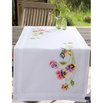 """16""""X40"""" - Little Birds And Pansies Table Runner Stamped Embroidery Kit"""