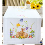 """16""""X40"""" - Rabbits Table Runner Stamped Embroidery Kit"""