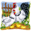 "Chicken Family On A Farm - Vervaco Cushion Latch Hook Kit 16""X16"""