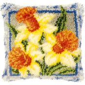 "Daffodils - Vervaco Cushion Latch Hook Kit 16""X16"""