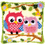 "Owls On A Branch - Vervaco Cushion Latch Hook Kit 16""X16"""