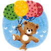 "Bear With Balloons - Vervaco Shaped Rug Latch Hook Kit 22""x24.75"""
