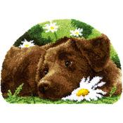 "Chocolate Labrador - Vervaco Shaped Rug Latch Hook Kit 27.5""x18.5"""