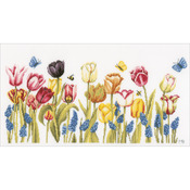 """20""""X10.25"""" 27 Count - LanArte Tulips On Cotton Counted Cross Stitch Kit"""
