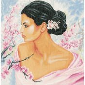 "15.75""X16"" 30 Count - LanArte Lady With Blossoms On Linen Counted Cross Stitch Kit"