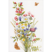 "12.25""X18.5"" 27 Count - LanArte Field Flowers On Cotton Counted Cross Stitch Kit"