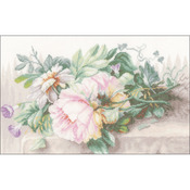 "15.5""X10.25"" 30 Count - LanArte Still Life W/Peonies On Linen Counted Cross Stitch K"