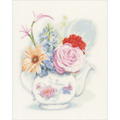 "11""X13"" 30 Count - LanArte Flowers In Teapot On Linen Counted Cross Stitch Kit"