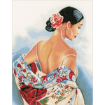 """14.5""""X19"""" 14 Count - LanArte Flower Scarf On Aida Counted Cross Stitch Kit"""