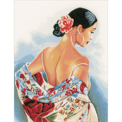 "14.5""X19"" 14 Count - LanArte Flower Scarf On Aida Counted Cross Stitch Kit"