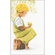 "8""X11.75"" 27 Count - LanArte Girl With Apple On Cotton Counted Cross Stitch Kit"