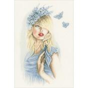 "11.75""X18"" 30 Count - LanArte Blue Butterflies On Linen Counted Cross Stitch Kit"