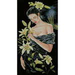 """12.5""""X21.75"""" 14 Count - LanArte Lady With Lilies On Aida Counted Cross Stitch Kit"""