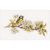 "16""X9.75"" 27 Count - LanArte Blue Tit On Cotton Counted Cross Stitch Kit"