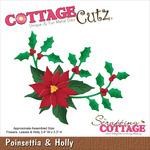 "Poinsettia & Holly 3.4""X3.3"" - CottageCutz Die"