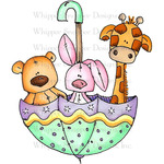 "Baby Zoo Umbrella - Whipper Snapper Cling Stamp 4.25""X7"""