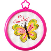 "3"" Round 14 Count - My 1st Stitch Find Your Wings Mini Counted Cross Stitch Kit"