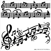 "Music Notes - Hot Off The Press Stencils 6""X6"""