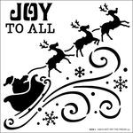 "Flying Santa Silhouette - Hot Off The Press Stencils 6""X6"""
