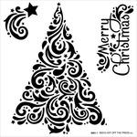 "Swirly Christmas Tree - Hot Off The Press Stencils 6""X6"""