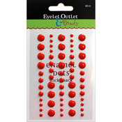 Red - Eyelet Outlet Adhesive-Back Enamel Dot 60/Pkg