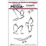 "Scribbly Birds In Flight - Dina Wakley Media Cling Stamps 6""X9"""