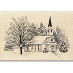 Church In Snow - Inkadinkado Christmas Mounted Rubber Stamp