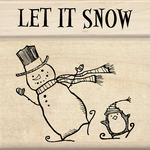 Let It Snow - Inkadinkado Christmas Mounted Rubber Stamp