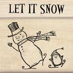 Let It Snow - Inkadinkado Christmas Mounted Rubber Stamp