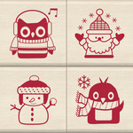 Holiday Friends - Inkadinkado Christmas Mounted Rubber Stamp