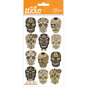 Silhouette Sugar Skull - Sticko Halloween Stickers