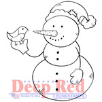 "Snowman & Partridge - Deep Red Cling Stamp 2""X2"""
