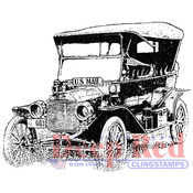 "Old Mail Truck - Deep Red Cling Stamp 2""X2"""