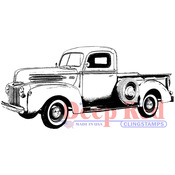 "Classic Pickup Truck - Deep Red Cling Stamp 3""X1.25"""