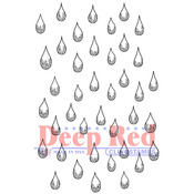 "Rain Drops - Deep Red Cling Stamp 2""X3"""