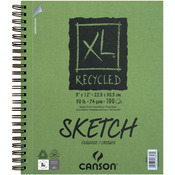 "100 Sheets - Canson XL Recycled Side Spiral Sketch Paper Pad 9""X12"""