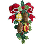 """13""""X17"""" - Pinecones & Holly Wall Hanging Felt Applique Kit"""