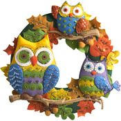 "17"" Round - Owl Wreath Felt Applique Kit"