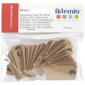"Brown - Artemio Kraft Tags W/Wire .75""X1.5"" 50/Pkg"