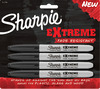 Black - Sharpie Extreme Permanent Markers 4/Pkg Sanford-Sharpie Extreme Permanent Markers: Black. Fine, durable tip delivers bold color and lines on most surfaces including plastic, glass and wood. Ideal for sporting equipment, camping gear, playground toys, water bottles and more. Stands up against the sun and UV rays. This package contains four 5-3/8 inch long black fine point permanent markers. Conforms to ASTM D 4236. Imported.