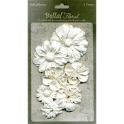 White - Bella Paper Florals 7/Pkg