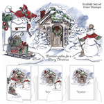 """Christmas Scene - Art Impressions Try'folds Cling Rubber Stamps 10""""X4.5"""""""