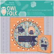"Papermania Owl Folk Framed Decoupage Card Kit 6""X6"""