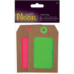 Pink & Green - Papermania Neon Pocket Tags 4/Pkg