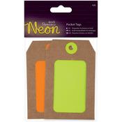 Yellow & Orange - Papermania Neon Pocket Tags 4/Pkg