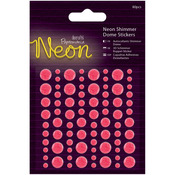 Pink - Papermania Neon Shimmer Dome Stickers 80/Pkg