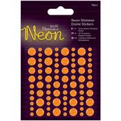 Orange - Papermania Neon Shimmer Dome Stickers 80/Pkg